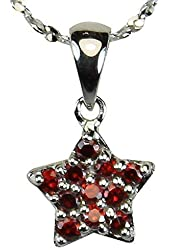 Red Cubic Zirconia Pave Star Silver Pendant Necklace