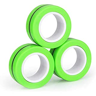N/Y Magnetic Fidget Toy ,Stress Relief Finger Toy,Magnetic Bracelet Ring Unzip Toy, Magical Ring Props Tools, Colorful Finger Game Toy, Anti-Stress Fidget for Kid and Adult (Green)