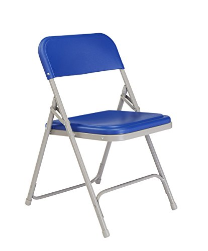 - National Public Seating 800 Series Steel Frame Premium Light Weight Plastic Seat and Back Stacking Folding Chair with Double Brace, 480 lbs Capacity