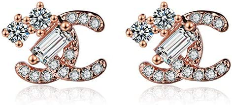 C Stud Earrings for Women - Letter C Earrings,Gift for Birthday,  Thanksgiving, Mother's Day, Casual or Daily Wear Rose gold: Buy Online at  Best Price in UAE - Amazon.ae