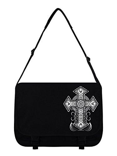 Bag 38x33x11cm Cross Skull Messenger Black w8qAB1F