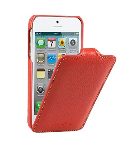 Edle Tasche für Apple iPhone SE , iPhone 5S und iPhone 5 / Case Außenseite aus beschichtetem Leder / Cover Innenseite aus Textil / Schutz-Hülle aufklappbar / ultra-slim / Flip-Case / Farbe: Rot