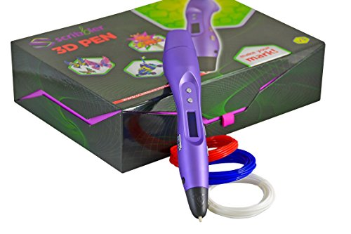 Scribbler 3D Pen V3 set Bundled with 500 ft of ABS plastic filament! New Awesome Design Model Printing Drawing 3D Pen with LED Screen Great Gift-Purple
