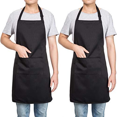 Homsolver 2 Pack Adjustable Bib Apron with 2 Pockets Liquid Drop Waterdrop Resistant Cooking Kitchen Restaurant Bar Apron Black Aprons Chef Apron Unisex Aprons for Women Men (Black Apron, Two Packs)