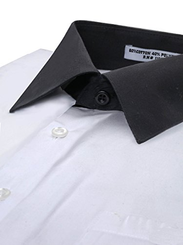 Men's White Two Tone Dress Shirt w/ Convertible Cuffs - XLarge 34/35 (Shirt White Ton)