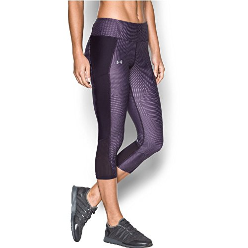 Under Armour Women's Fly-By Printed Capri, Imperial Purple/Fresh Orchid, Small