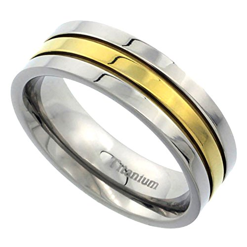 - Sabrina Silver 7mm Titanium Wedding Band Gold Stripe Ring Flat Polished Finish Comfort Fit, size 11.5