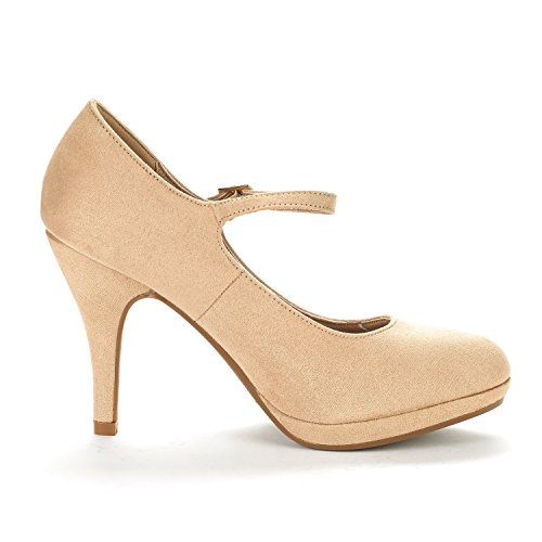 DREAM PAIRS Womens LILICA Mary-Jane Close Toe Stilleto Platform Heel Pump Shoes Nude Suede gkdFu