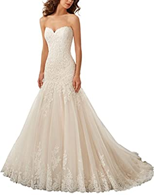 Women's Lace Wedding Dress Mermaid Bride Gowns White Ivory for Bride 2016