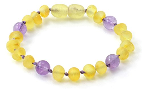 Raw Amber Teething Bracelet / Anklet made with Amethyst Beads - Size 4.7 inches (12 cm) - Unpolished Lemon Baltic Amber Beads - BoutiqueAmber (4.7 inches, Raw Lemon / Amethyst)
