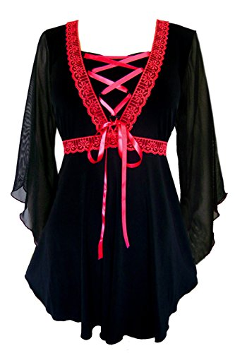 Dare to Wear Victorian Gothic Boho Women's Plus Size Bewitched Corset Top Black/Red (Blood Elf Shirt)