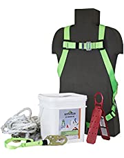 Peakworks V8257275 Fall Protection, Contractor/Industrial Roofer's Kit, 50 ft, Universal Size Harness