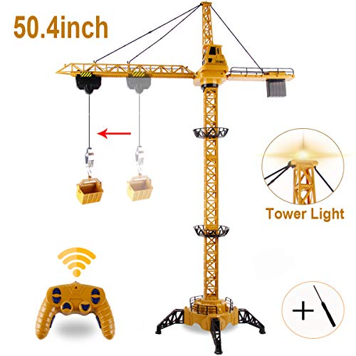 BOBXIN 50.4 inch RC Tower Crane, 6 Channel Lift Construction Model 2.4GHz Mega Crane Toy with Tower Light Realistic Sound and Adjustable Height Gift for Boys(with Screwdriver)