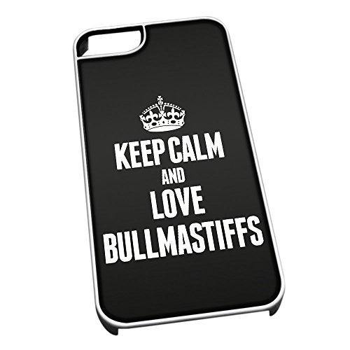 Bianco Cover per iPhone 5/5S 1990Nero Keep Calm And Love Bullmastiffs