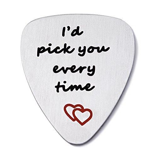 I'd Pick You Every Time Guitar Pick Stainless Steel Pendant Valentine Gift for Lover Women Men Boy Girl (Pick You Every Time(Matte))