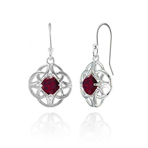 Ruby Celtic - Sterling Silver Created Ruby 5x5mm Cushion-Cut Celtic Open Knot Dangle Earrings
