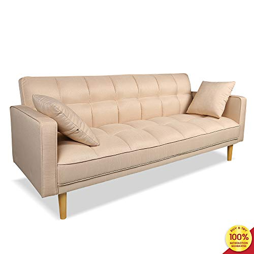 romatpretty, Convertible Futon Couch, Pillows Armrests Microfiber Upholstery and Wood Legs Stretch Sofa Bed for Living Room Small Space, 76 L x 32.3 W x 31.5 H, Beige
