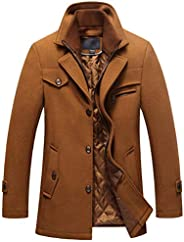 chouyatou Men's Gentle Layered Collar Single Breasted Quilted Lined Wool Blend Pea C