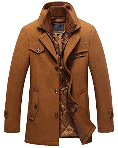 chouyatou Men's Gentle Layered Collar Single Breasted Quilted Lined Wool Blend Pea Coats (X-Large, Brown) ()