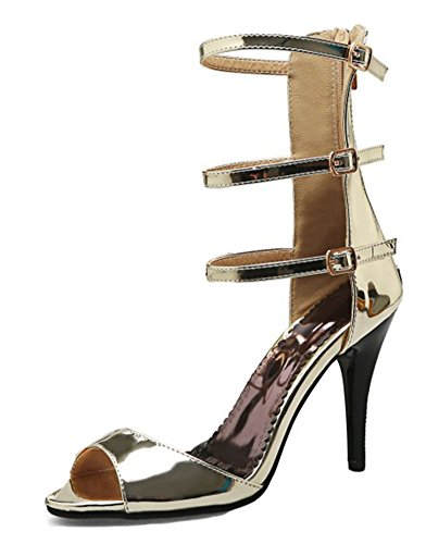 Aisun Women's Sexy Three Buckle High Heels Sandals Shoes Gold