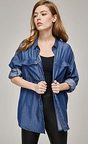 fac49eb5f9ba3 Escalier Women s Denim Shirt Chambray Tencel Long Sleeve Button Down Shirts  Oversize Blouse
