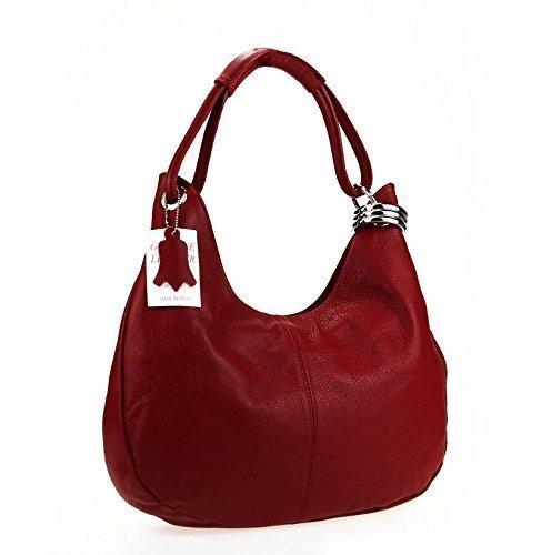 OBC Borsa da Donna in Vera Pelle - Made in Italy - 42x26x10 cm - 42x26x10 cm, Blu Rosso