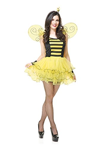 Charades Women's Sweet Bee Costume Dress with Wings, Black/Yellow, X-Small