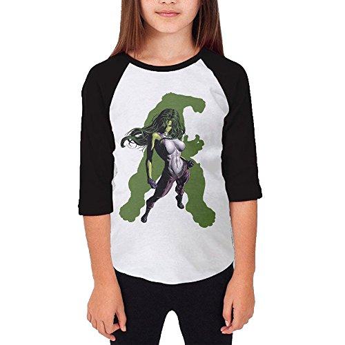 Mmo-J Girl's Teenagers She Hulk The Hulk 3/4 Sleeve Raglan Shirt Size S]()
