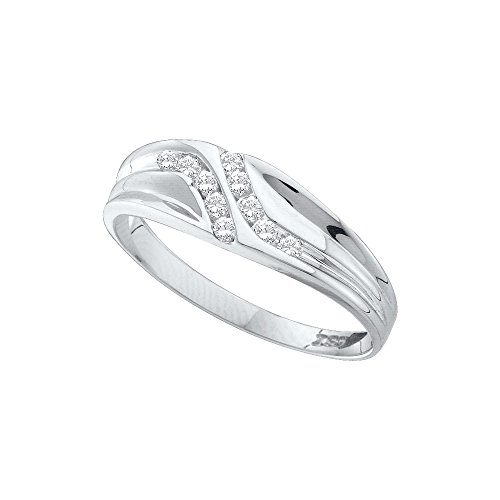 Jewels By Lux 10kt White Gold Mens Round Diamond Double Row Slender Wedding Band 1/8 Cttw Ring Size 13