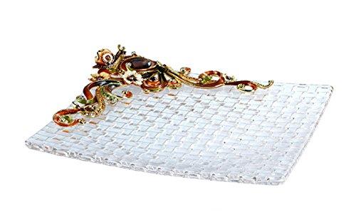 RORO Wedding Gift, Enameled and Jeweled Bohemia Crystal Snail Fruit Plate, Swarovski Decoration, Luxury Home Accessories Robbie Rodin