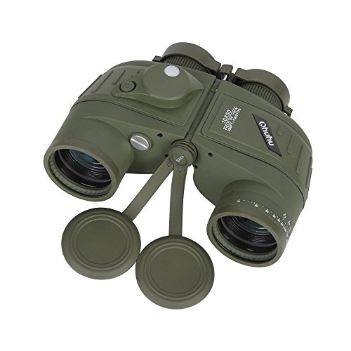 Ohuhu Military Binocular 10X50 396FEET/1000YDS Sports Optics Binoculars with Compass For Navigation, Boating, Fishing, Water Sports, Hunting by Ohuhu
