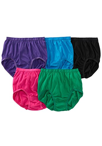 Comfort Choice Women's Plus Size 5-Pack Pure Cotton Full-Cut Brief - Bright Pack, ()
