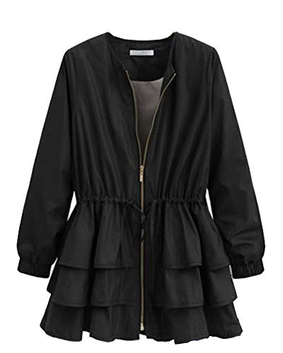Cape Runyue Cardigan Black Waterfall Coat Zip Layer Belted Ladies Casual Sleeve Multi up Trench Long Jacket BxBRvqO