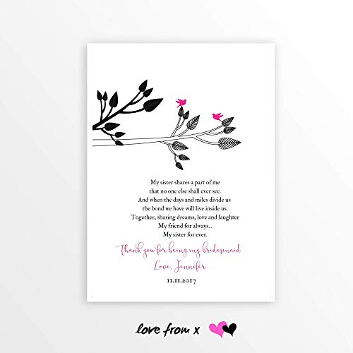 Maid of Honor Gift   Matron of Honor   Sister Bridesmaid Best Friend   Wedding Day PERSONALIZED Poem   LFBM7