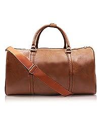 Weekend Travel Leather Bag Overnight Duffel Waterproof Bags Tote Carryon Luggage Gym Bag for Men&Women (Brown)