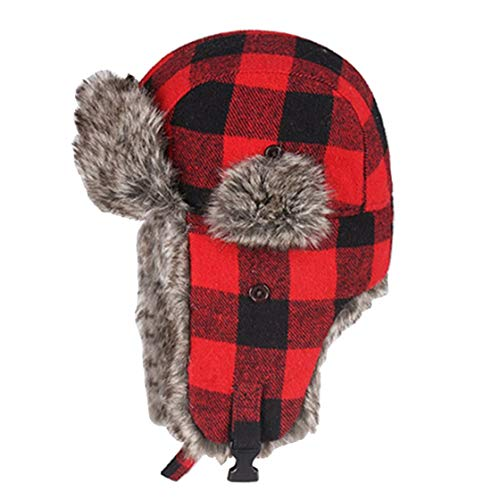 (Winter Hats for Mens Bomber Hat Fur Earflap Cap Windproof Thicker Plaid Ushanka Caps)