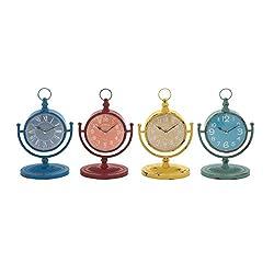 Benzara 92210 The Amazing Metal Desk Clock, Assorted