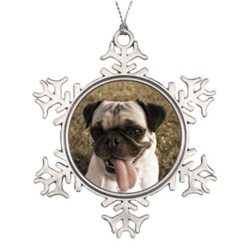 OneMtoss Christmas Snowflake Ornament Xmas Trees Decorated Yard Pug Dog Sitting in Yard Halloween Tree Snowflake Ornaments -
