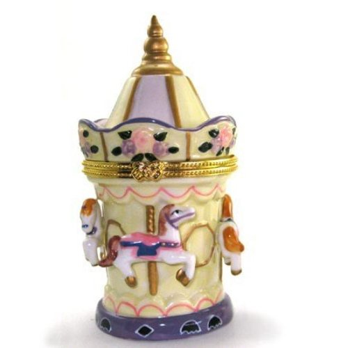 Porcelain Circus Carousel Hinged Lid Trinket Box with Tiny Trinket Inside, By ArtGifts, 4.5