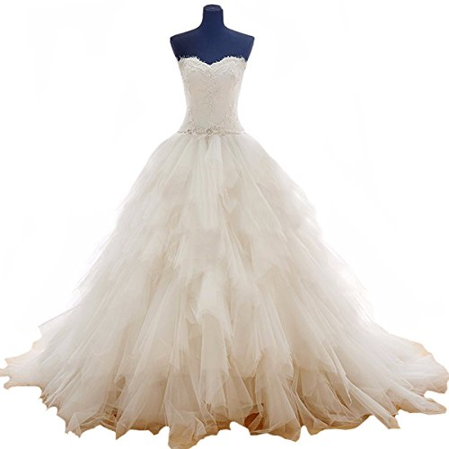 Fair Lady Romantic Sweetheart Ball Gown Wedding Dresses Ruffles Princess Beaded Bridal Gowns Ivory ()