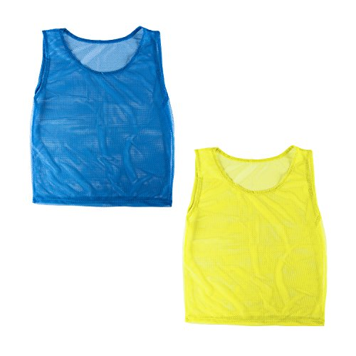 Nylon Mesh Scrimmage Team Practice Vests Pinnies Jerseys for Children Youth Sports Basketball, Soccer, Football, Volleyball (12 Jerseys) by Super Z Outlet (Lax Pinnies Men)