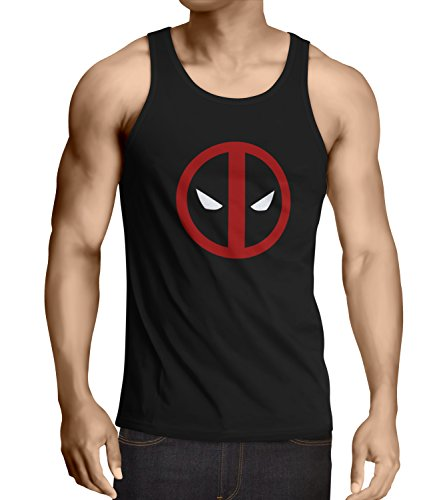 Super Fan Halloween Costume (Mens Super Hero Tank Top Collection Premium Quality for Halloween Costume (L, Black - Deapool Face Logo))