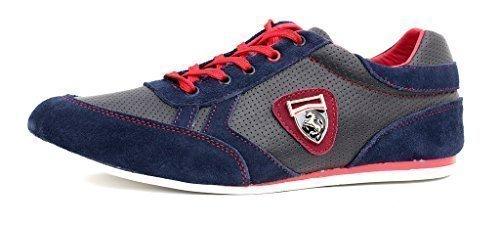 Zapatillas Informales Para Hombre De Piel Con Cordones Vestido Inteligentes zapatos núm. RU Azul marino/Rojo