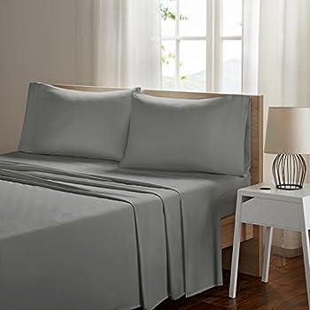 SLEEP PHILOSOPHY Smart Cool Microfiber Moisture-Wicking Breathable Hypoallergenic 4 Piece Cooling Sheet Set, Queen Size, Grey