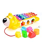 Moonvvin Wooden Xylophone Toy Car Truck with Animal Shape Sorter Educational Toys with 6 Shapes Blocks for Toddlers(Random Color)