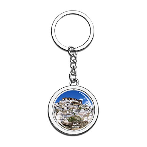 India Keychain Thiksey Monastery Leh Key Chain 3D Crystal Spinning Round Stainless Steel Keychains Travel City Souvenirs Key Chain Ring
