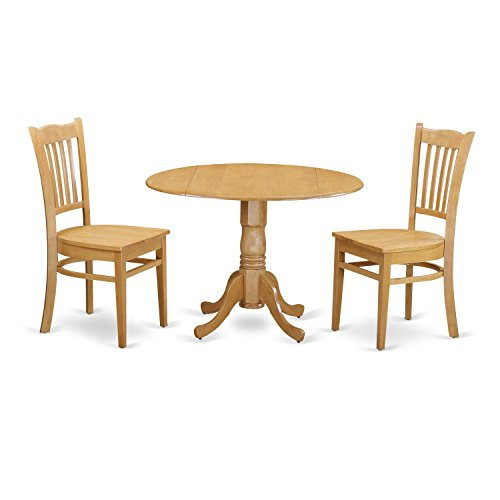 East West Furniture DLGR3-OAK-W 3 Piece Dinette Table and 2 Chairs Set - 2 Piece Oak Desk