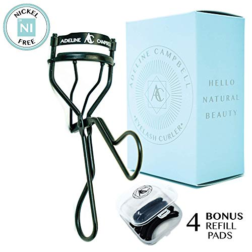 Nickle Free Eyelash Curler with FOUR Refill Pads   Black Stainless Steel - Hypoallergenic for Sensitive Eyes- Won't Tug or Pinch! Made for all eye shapes and lash ()