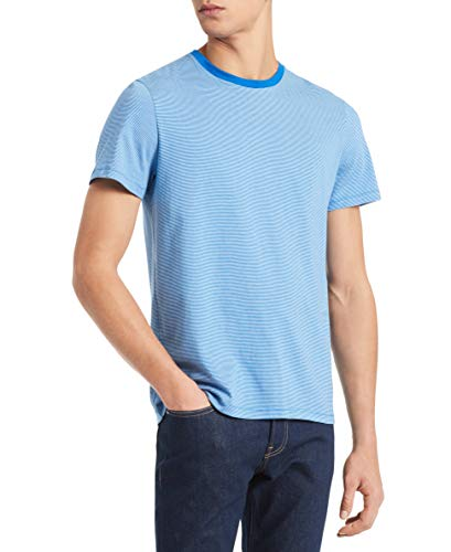 (Calvin Klein Men's Short Sleeve Crew Neck Liquid Jersey T-Shirt with UV Protection, Blue Bell Combo, Large )