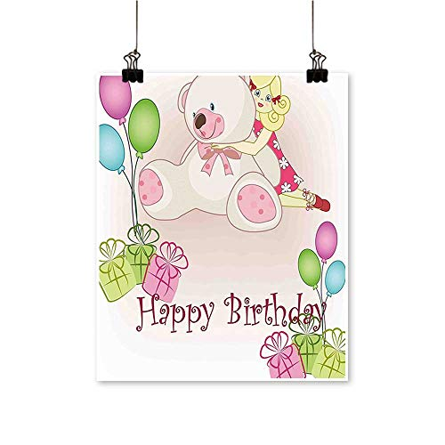 On Canvas Prints for Kids Baby Girl Birthday with Teddy Bears Balloons Boxes Doll Image Light Paintings for Wall Decor,24